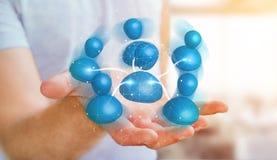 Geschäftsmann, der blaue Wiedergabe des Ikonensozialen netzes 3D hält Lizenzfreie Stockbilder