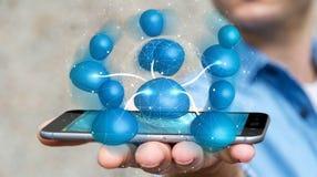 Geschäftsmann, der blaue Wiedergabe des Ikonensozialen netzes 3D hält Lizenzfreie Stockfotos