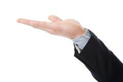 Geschäftsmann, der copyspace auf Palme hält Lizenzfreies Stockbild