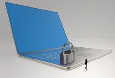 Geschäftsmann, der 3d Laptop-Computer betrachtet Stockbilder