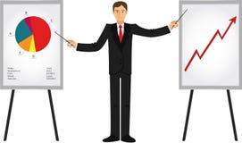 Geschäftsmann, der Darstellungen zeigt Lizenzfreies Stockbild