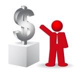 Geschäftsmann, der das Dollarzeichen zeigt Stockfotos