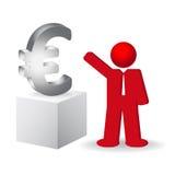 Geschäftsmann, der das Eurozeichen zeigt Lizenzfreie Stockbilder