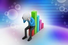 Geschäftsmann, der das Finanzdiagramm sitzt Stockfoto