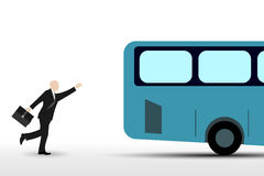Geschäftsmann, der den Bus laufen lässt lizenzfreie abbildung