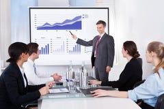 Geschäftsmann, der Diagramm erklärt Lizenzfreie Stockfotografie
