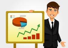 Geschäftsmann, der Diagramm zeigt Stockbild