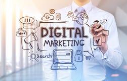Geschäftsmann, der digitale Marketing-Skizze zeichnet Lizenzfreie Stockbilder