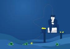 Geschäftsmann, der Dollargeld fischt Ideen in Geldkonzept Flaches Artvektordesign Stockfotografie