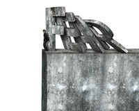 Geschäftsmann, der Domino des roten Furchtwortfallens stoppt Lizenzfreie Stockbilder