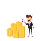 Geschäftsmann, der durch eine Lupe schaut, um Geld zu überprüfen Geschäftswachstum, Investition, Finanzkrisekonzept lizenzfreie abbildung