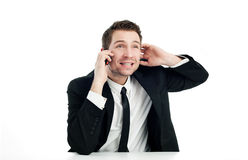 Geschäftsmann, der durch Telefon spricht lizenzfreie stockbilder