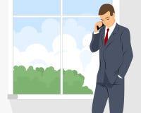 Geschäftsmann, der durch Telefon spricht vektor abbildung