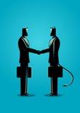Geschäftsmann, der ein Abkommen mit Teufel macht lizenzfreie abbildung
