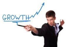 Geschäftsmann, der ein darstellengeschäftswachstum zeichnet Stockfoto
