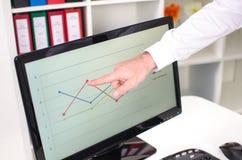 Geschäftsmann, der ein Diagramm auf dem Schirm zeigt Lizenzfreie Stockfotografie