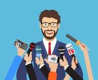 Geschäftsmann, der ein Interview gibt Stockfotografie