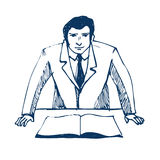 Geschäftsmann, der eine Darstellung am Geschäft confe tut Stockbild