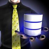 Geschäftsmann, der eine Datenbank- Dienstleistung erbringt Stockbilder