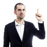 Geschäftsmann, der eine großartige Idee zeigt Stockfoto