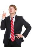Geschäftsmann, der eine Idee hat, oben zu zeigen Lizenzfreie Stockfotografie