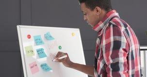 Geschäftsmann, der eine Mitteilung auf Büro whiteboard schreibt stock footage