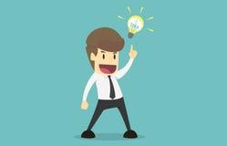 Geschäftsmann, der eine neue Idee, Birnenidee anbietet Karikatur von Geschäft s Stockfotos
