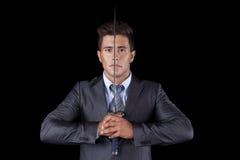 Geschäftsmann, der eine ninja Klinge anhält Stockbilder