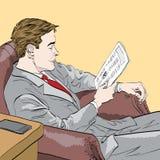 Geschäftsmann, der eine Zeitung liest Vektorc$env-datei Lizenzfreie Stockfotos