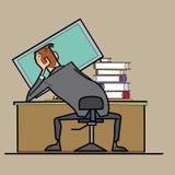 Geschäftsmann, der an einem Computer, Kurvenlage arbeitet Stockbild