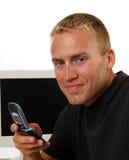 Geschäftsmann, der einen Aufruf bildet Lizenzfreie Stockfotos