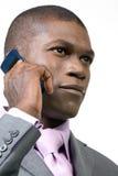 Geschäftsmann, der einen Aufruf nimmt Stockfotos