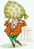 Geschäftsmann, der einen Beutel des Geldes von der Querneigung anhält. stock abbildung
