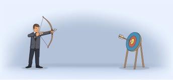 Geschäftsmann, der einen Bogen und einen Pfeil schießt Bogenschießen in der Klage Flache Vektorillustration horizontal vektor abbildung