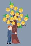 Geschäftsmann, der einen Geldbaum umarmt Lizenzfreie Stockfotografie