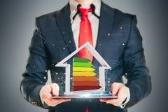 Geschäftsmann, der einen Leistungsfähigkeits-Bewertungsmaßstab hält Lizenzfreie Stockfotos