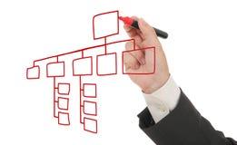 Geschäftsmann, der einen Organisationsplan zeichnet Stockbild