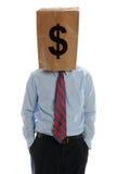 Geschäftsmann, der einen Papierbeutel auf seinem Kopf trägt Stockbild