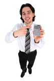 Geschäftsmann, der einen Rechner anhält lizenzfreie stockfotografie