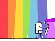 Geschäftsmann, der einen Regenbogenhintergrund malt Lizenzfreie Stockfotografie