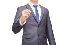 Geschäftsmann, der einen Stift, Isolathintergrund des Geschäftsmannes für Begriffs hält Stockbilder