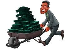 Geschäftsmann, der einen Wagen mit vielem Geld trägt Stockbild