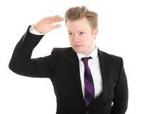 Geschäftsmann, der in einer schwarzen Jacke und in einer Bindung steht Lizenzfreie Stockfotos