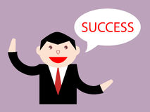 Geschäftsmann, der an Erfolg denkt lizenzfreie stockfotos