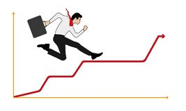 Geschäftsmann, der erfolgreich oben auf einer Leiter zum Diagramm läuft stock abbildung