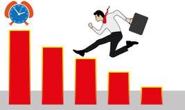 Geschäftsmann, der erfolgreich oben auf einer Leiter zum Diagramm läuft lizenzfreie abbildung