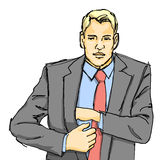 Geschäftsmann, der für Geldbörse erreicht Lizenzfreies Stockbild