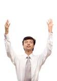 Geschäftsmann, der für Hilfe betet Stockfotos