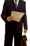 Geschäftsmann, der für seine Darstellung sich vorbereitet Stockfotos