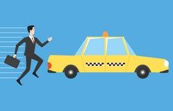 Geschäftsmann, der für Taxi läuft Lizenzfreies Stockfoto